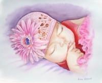 Portraits - Sleeping Baby - Watercolor