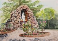 Landscapes - Saint Rose Of Lima Church Grotto -120 Dollars - Watercolor