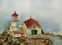 Landscapes - Lighthouse Point Reyes California - Watercolor