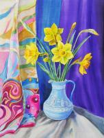 Flowers - Daffodils In The Wedgwood Vase - Watercolor