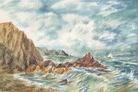 Landscapes - Vintage Storm At Rocky Shore - Watercolor