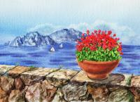 Landscapes - Amalfi Coast Vew Of Anacapri - Watercolor