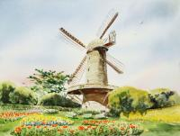 Landscapes - Dutch Windmill In San Francisco - Watercolor