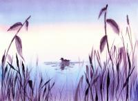 Landscapes - When The Sky Melts With Water A Peaceful Pond - Watercolor