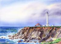 Landscapes - Lighthouse Point Arena California - Watercolor