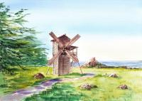 Landscapes - Landscapes Of California Fort Ross Windmill - Watercolor